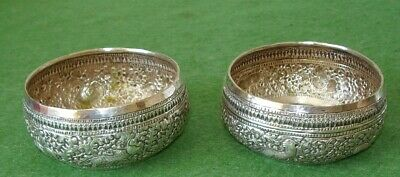 2 ANTIQUE SILVER BOWLS PERSIAN HAND CHASED SUPERB ANIMAL DECORATION SIGNED c1900