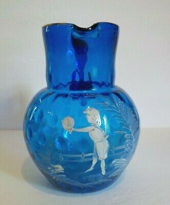 Mary Gregory Art Glass Pitcher, Royal Blue, Boy with Ball