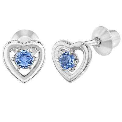 da95250f0 925 Sterling Silver Blue CZ Open Heart Screw Back Earrings for Baby Girl