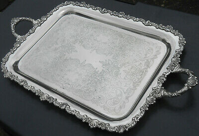 Antique Silver Plated Larger Tea / Serving Tray - Chased