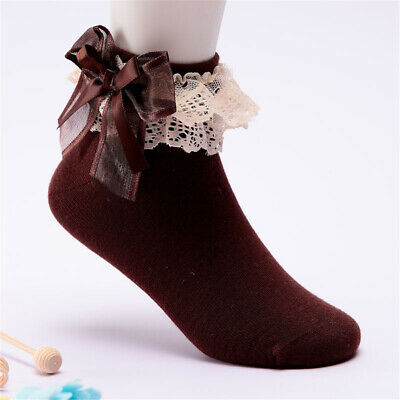 1 Pair Girls Kids Toddlers Lace and Organza Ribbon Bows Trim Frilly School Socks