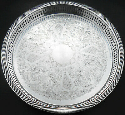 Vintage Gorham Chased Drinks Tray - Silver Plated