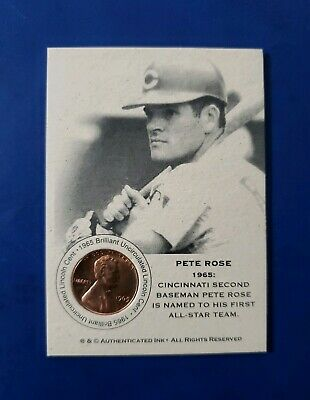 PETE ROSE 1965 Penny AUTH/INK **RARE** Baseball Coin Card (MINT) ***FREE SHIP***