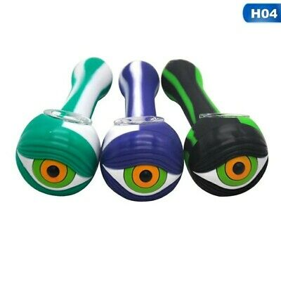 """EYE BALL Striped 5"""" Silicone Hand Pipe Tobacco w/ Glass Bowl  *Assorted Colors*"""