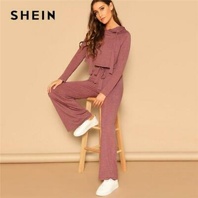 0c71167506 SHEIN Drawstring Crop Hoodie And Pants Set 2 Piece Outfits For Women Spring  Casu