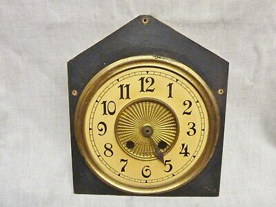 lovely early 1900s mantel clock dial face steeple american german pressed brass