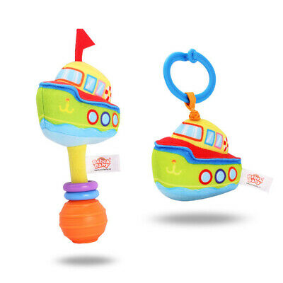 2Pcs Pull-Down Stroller Toy + Hand bell Baby Rattle Toys Car Seat Crib Bed Q3Q6