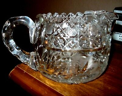 "Antique American Brilliant 3 1/4"" Cut Heavy Crystal Creamer Unique Flowers  MINT"