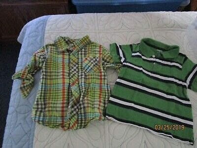 Boys 3T 3 Y Shirts Old Navy Plaid Button Down Shirt & Gymboree Polo Top