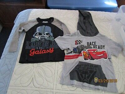 Star Wars Darth Vader & Cars Lightning McQueen Tee T-shirts Sz 2T 2 Toddler Boys
