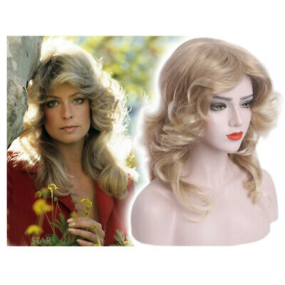 1970s 80s Feathered Wig Wave Women Fancy Dress Cosplay Disco Blonde Costume AU