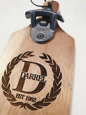 Personalised Wooden Bottle Opener Wall Mount Custom Father's Day Gift Engraved