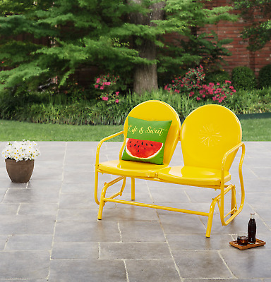 Excellent Vintage Metal Porch Glider Retro Lawn Chair Yard Patio Onthecornerstone Fun Painted Chair Ideas Images Onthecornerstoneorg