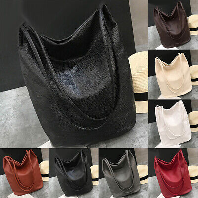 AM_ Women Faux Leather Solid Color Large Capacity Tote Shoulder Bag Handbag Note