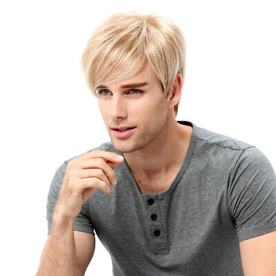 Mens Wig Ombre Blonde Short Layered Straight Cosplay Costume Hair Toupee 12'' AU