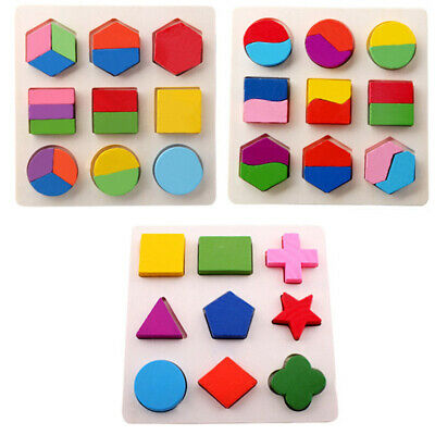 Baby Kids Wooden Stereo Puzzle Toy Geometry Educational Toys Early Learning Game