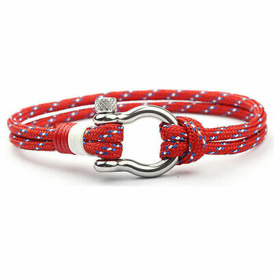 Men New Stainless Steel U Shaped Buckle Paracord Rope Nautical Sailing Bracelet