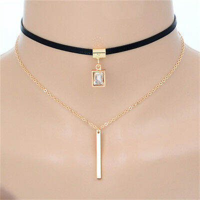 Double Layer Square Pendant Gothic Choker Faux Leather Necklace Chain  C