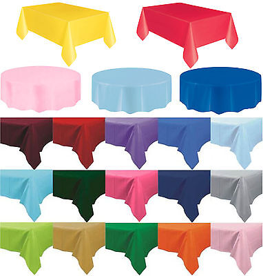 Rectangle & Round Plastic Disposable Table Cloth Covers Cover Party Rectangle