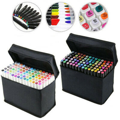 30/40/60/80 Colors Sets Oil Markers Pens Dual Headed Artist Sketch Copic Funny
