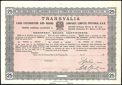 South Africa: Transvalia Land Exploration and Mining Co. Ltd., 25 shares, cir...