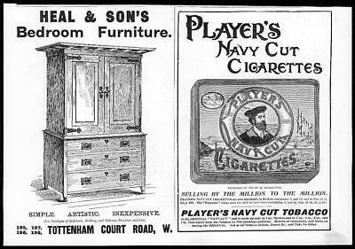 1899 Antique Print - ADVERTISING Heal Sons Players Navy Cut Cigarettes   (37)