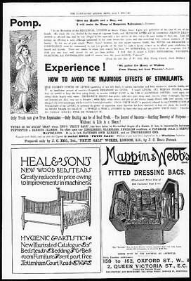 1899 Antique Print Advertisements  Mappin Webbs  Heal Sons Eno Fruit Salt (177)