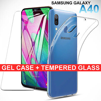 Samsung Galaxy A40 Clear Gel Case Tempered Glass Screen Protector TPU Cover