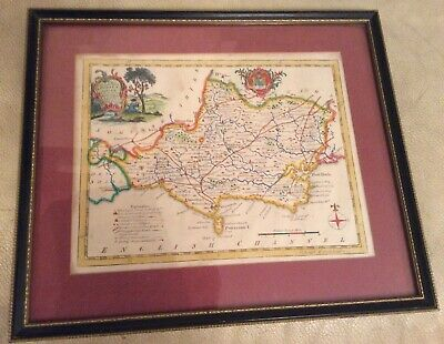Antique Hand Coloured Map Of Dorsetshire By T. Kitchin  Framed.