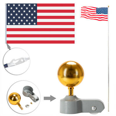 Flagpole Aluminum Kit Sectional Halyard Pole Outdoor /w 2pcs American Flags 25ft