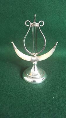 Fabulous H/M Art Nouveau Sterling Silver & MOP Lyre Pocket Watch Stand Bham 1908
