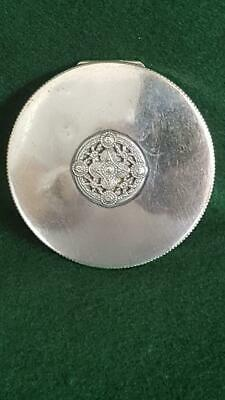 Excellent Czech 1930s Art Deco 90 Solid Silver Oval Powder Compact