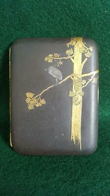 Lovely 1900s Japanese 15kt Gold Inlaid Damascene Cigarette Case Love Bird Scene