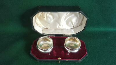 Wonderful Cased Pair Late Vict Sterling Silver Open Salts H/M Chester 1898 49g