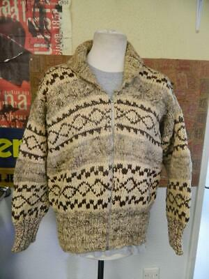 Vintage 1960's Genuine Cowichan Indian Wool Sweater - S