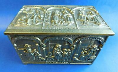 Superb Heavy Edwardian English Peerage Brass Cigar Trinket Box 'Cries of London'