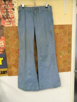 Vintage 1970's Loss Nitz 25 Light Blue Pleated Front Flared Trousers - W30xL29