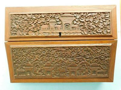 Antique Slope Top Writing Box Intricately Carved Wood India 1900s