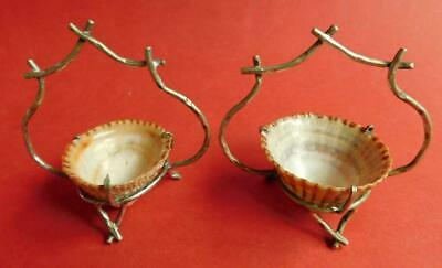 Rare Early Australian EP Silver Open Salt Bowls with Limpet Shells c1900s