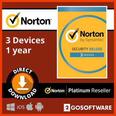 Norton Security Deluxe 2019 3 Devices/1 Year Internet Security PC/Mac License