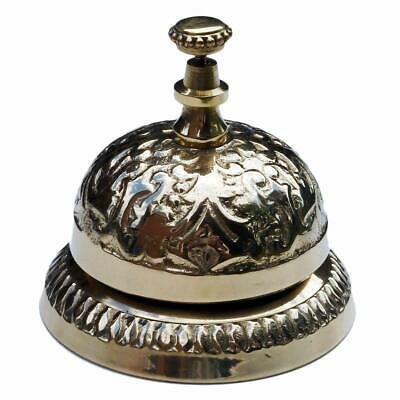 Solid Brass Hand Bell Wall Mountable Clear Ring Indoor And Outdoor Nautical