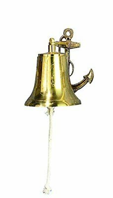 Brass Bell And Anchor Nautical Rustic Classic Shape Flat Top Bell 6 By 8-Inch