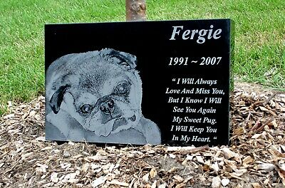 Luxury Photo Engraved Memorial Grave Plaque. Large 40x30 Black Granite Headstone