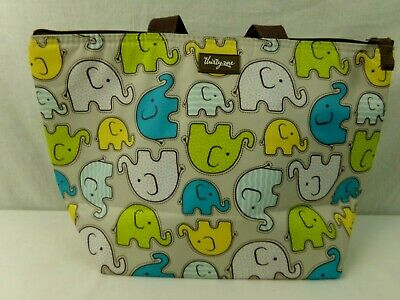 Thirty One 31 Cheeky Elephants Thermal Lunch Bag Tote Multicolored Gently Used