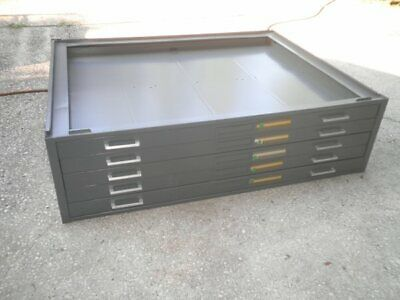 """Mayline Blueprint Filing Cabinet Section w/5 (2"""") Drawers for Flat Map Art Tools"""