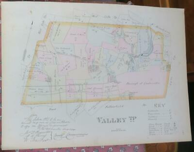 Original Valley Township Chester County Pa. Breou's 1883 Colored Map,Railroads