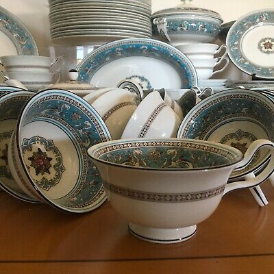 WEDGWOOD TURQUOISE FLORENTINE - 1 x Peony TEA CUP - 17 available mint
