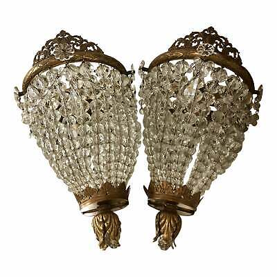 Pair of Antique Austrian Crystal & Bronze Wall Sconces