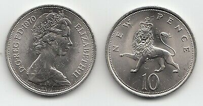 UK Ten Pence Coins 10p 1968 to 1981 Choose your Year - Uncirculated