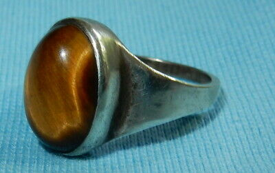 Striking Vintage Sterling Silver Ring + Large Tigers Eye Cabochon Stone